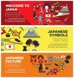 Welcome to Japan promo Internet banners with country symbols stock illustration