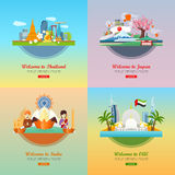 Welcome to Japan, Thailand, India, UAE Royalty Free Stock Photo