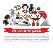 Welcome to Japan travel poster of Japanese culture famous sightseeing landmarks and attractions icons. Welcome to Japan travel poster of Japanese famous landmark Stock Photos