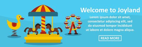 Welcome to joyland banner horizontal concept. Flat illustration of welcome to joyland banner horizontal vector concept for web Royalty Free Stock Photos