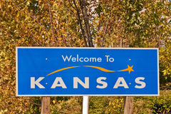 Welcome to Kansas Sign. On the state border Royalty Free Stock Photo