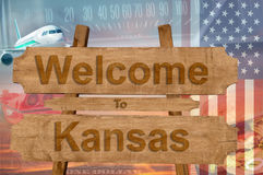 Welcome to Kansas state in USA sign on wood, travell theme Royalty Free Stock Images