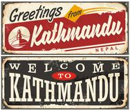 Welcome to Kathmandu, retro tin signs set Stock Images