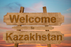 Welcome to Kazakhstan sign on wood background Stock Photos