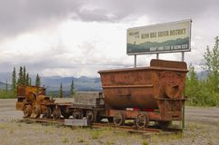 Welcome to Keno Hill Silver District in Yukon, Canada. With old mining train equipment royalty free stock image