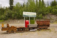 Welcome to Keno Hill Silver District in Yukon, Canada. With old mining train equipment royalty free stock photo