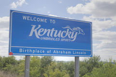 Welcome to Kentucky road sign. At the state border stock photo
