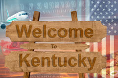 Welcome to Kentucky state in USA sign on wood, travell theme Stock Photography