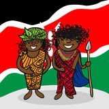 Welcome to Kenya people. Kenyan man and woman cartoon couple with national flag background. Vector illustration layered for easy editing Stock Photos