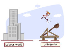 Welcome to the labour work. Young fresh out of college being catapulted into the workplace. Vector Stock Photo