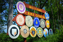 Welcome to Lake Geneva Sign. The sign that greets you when you first come into Lake Geneva, Wisconsin Stock Photos
