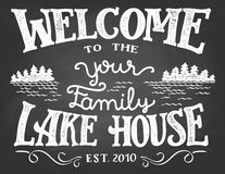 Welcome to the lake house chalkboard sign vector illustration