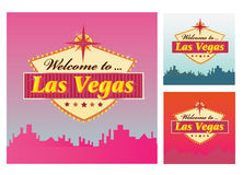 Welcome to Las Vegas. Las Vegas Welcome Sign in 3 color variants. Vector Illustration Stock Photos
