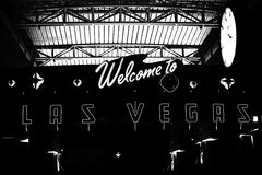 Welcome to Las Vegas. A black and white scene with welcome to Las Vegas sign from Las Vegas airport Royalty Free Stock Photos