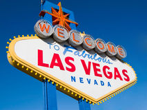 Welcome to Las Vegas. Street sign in blue sky Stock Image