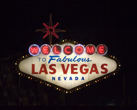 Welcome to las vegas. Famous vegas sign at night Royalty Free Stock Photos