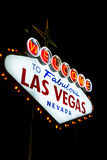 Welcome to las Vegas. Welcome to fabulous las vegas Nevada sign shot at night with a motion effect from the outside to the middle of the sign, effect done at the Stock Image
