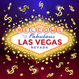 Welcome to Las Vegas Sign. Las Vegas Sign on the dark background with burst of gold coins and banknotes royalty free illustration