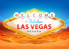 Welcome To Las Vegas Sign On Desert Background Stock Photo