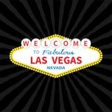 Welcome to Las Vegas sign icon. Classic retro symbol. Nevada sight showplace. Flat design. Black starburst sunburst background. Vector illustration stock illustration