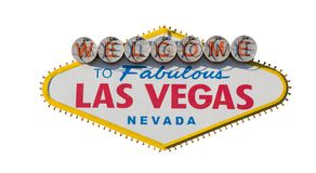 Las Vegas Sign isolated on white background royalty free stock photography