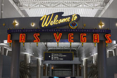 A Welcome to Las Vegas sign at McCarran Airport in Las Vegas, NV Stock Photo