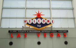 Welcome to Las Vegas sign in McCarran International Airport on May 12, 2014 in Las Vegas Stock Photos
