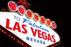 Welcome to Las Vegas sign at night Royalty Free Stock Photography