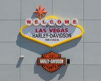 Welcome to Las Vegas Sign over the Harley bar and shield at the Las Vegas Harley Davidson Dealership stock images