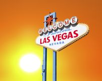 Welcome to las Vegas Sign with Setting Sun Royalty Free Stock Image