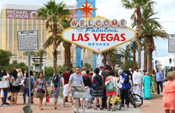Welcome to Las Vegas sign. Tourists at the World famous welcome to fabulous Las Vegas sign Royalty Free Stock Photo