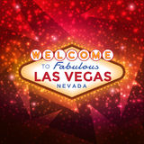Welcome to Las Vegas Sign. Vector Las Vegas Sign against the red sparkling background Royalty Free Stock Photos