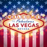 Welcome to Las Vegas Sign. Vector Las Vegas Sign on American flag background with sparkling bokeh stock illustration