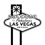 Welcome to Las Vegas Sign. Vector Las Vegas Sign silhouette isolated on white Stock Images