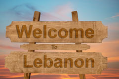 Welcome to Lebanon sign on wood background Royalty Free Stock Images
