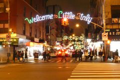 Welcome to Little Italy. Christmas decorations and a sign that reads Welcome to Little Italy, in New York City Stock Images