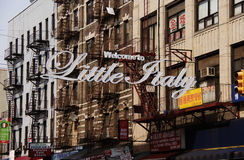 Welcome to Little Italy. District sign in New York City Royalty Free Stock Image