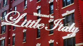 `Welcome to Little Italy` sign in Italian community named Little Italy in downtown Manhattan, New York City. `Welcome to Little Italy` sign in Italian community stock photo