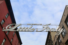 Welcome to Little Italy sign in Lower Manhattan. NEW YORK - FEBRUARY 26, 2015: Welcome to Little Italy sign in Lower Manhattan. Little Italy is an Italian Royalty Free Stock Images