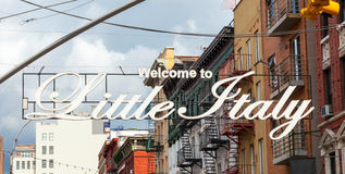 Welcome to Little Italy sign in Lower Manhattan. NEW YORK - JULY 07, 2015: Welcome to Little Italy sign in Lower Manhattan. Little Italy is an Italian community Stock Photo