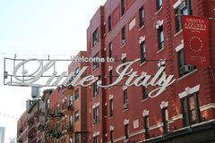 Welcome to Little Italy sign in Lower Manhattan. NEW YORK - May 14, 2015: Welcome to Little Italy sign in Lower Manhattan. Little Italy is an Italian community Stock Photos