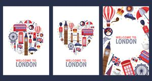 Welcome to London greeting souvenir cards, print or poster design template. Travel to Great Britain flat illustration. Circle, heart shapes and frame royalty free illustration