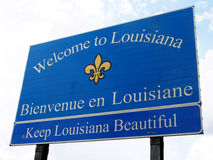 Welcome to Louisiana road sign. Stock Images