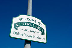 Welcome to Maine Sign. Welcome to Kittery, Maine Sign shot against a deep blue sky. Kittery was incorporated in 1647 and is the oldest town in the state of Maine royalty free stock photography