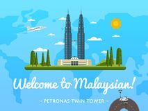 Welcome to Malaysia poster with famous attraction. Vector illustration. Travel design with Petronas Twin tower in Kuala Lumpur. Worldwide air traveling, famous Stock Photo