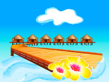 Welcome to Maldives!. Wooden footbridge to Maldives water houses Stock Images