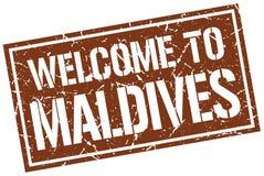 Welcome to Maldives stamp. Welcome to Maldives square grunge stamp Stock Image