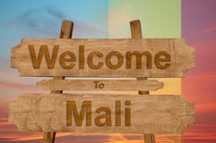 Welcome to Mali sign on wood background with blending nationa Stock Photos