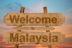 Welcome to Malysia sign on wood background Stock Photography