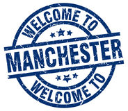 Welcome to Manchester stamp Stock Images